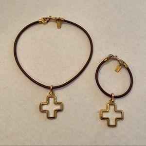 Coach Gold and Glass Cross Necklace & Bracelet